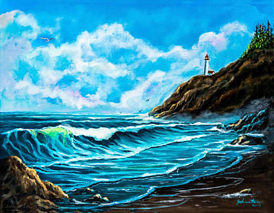 Heceta Head Lighthouse Oregon Coast Original Painting Forsale Poster by Bob and Nadine Johnston