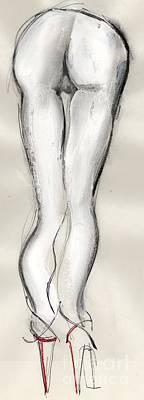 Heels - Nude Female Poster by Carolyn Weltman