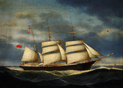 Heinrich Andreas Sophus Petersen The Barque Annie Burrill Poster by MotionAge Designs