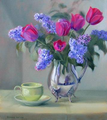 Heirlooms- Lilacs And Tulips In A Silver Pitcher Poster by Bonnie Mason