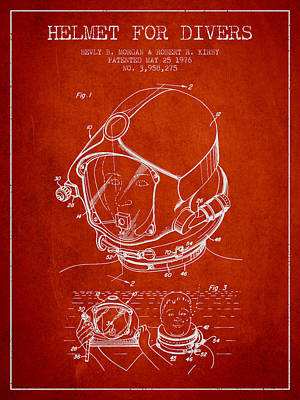 Helmet For Divers Patent From 1976 - Red Poster by Aged Pixel
