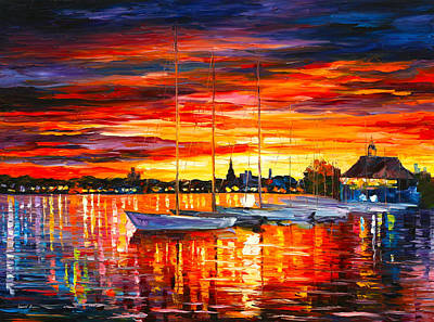 Helsinki Sailboats At Yacht Club Poster by Leonid Afremov