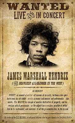 Hendrix Wanted Poster Poster by Gary Bodnar