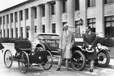 Ford Motor Company Poster featuring the photograph Henry And Edsel Ford by Underwood Archives