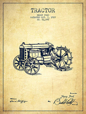 Henry Ford Tractor Patent  From 1919 - Vintage Poster by Aged Pixel