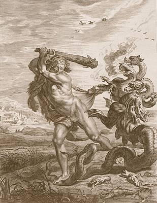 Hercules Fights The Lernian Hydra Poster by Bernard Picart