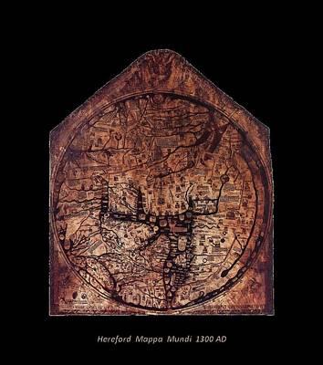 Hereford Mappa Mundi 1300 Text Label Medium Black Border Poster by L Brown