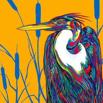Heron Poster by Derrick Higgins