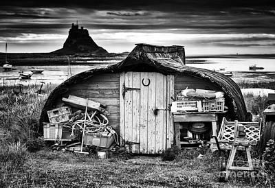 Herring Boat Hut Lindisfarne Monochrome Poster by Tim Gainey