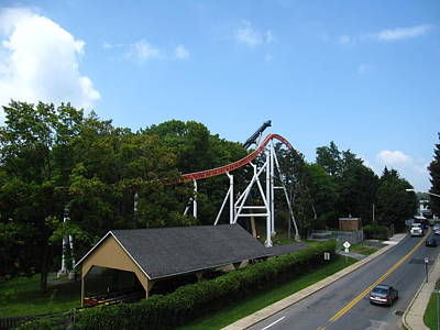 Hershey Park - Great Bear Roller Coaster - 12124 Poster by DC Photographer