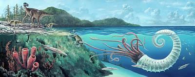 Heteromorph Ammonite Attack Poster by Richard Bizley