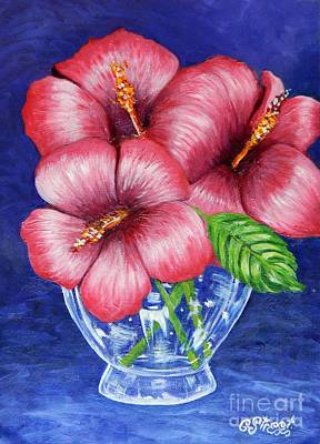 Hibiscus In Glass Vase Poster by Caroline Street