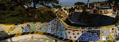 High Angle View Of A City, Parc Guell Poster by Panoramic Images