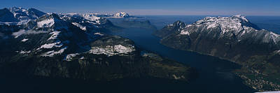 High Angle View Of Mountains, Lake Poster by Panoramic Images