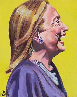 Hillary Rodham Clinton Portrait Laughing Poster by Elizabeth Barretta