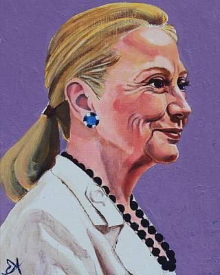Hillary Rodham Clinton Portrait With Ponytail Poster by Elizabeth Barretta