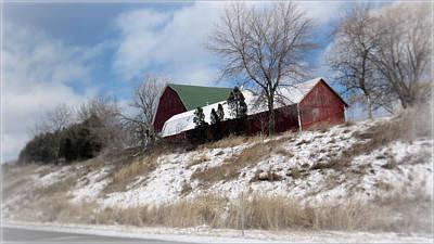 Hillside Farm In Winter Poster by Kay Novy