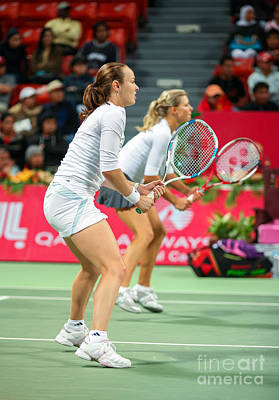 Hingis And Kirilenko In Doha Poster by Paul Cowan