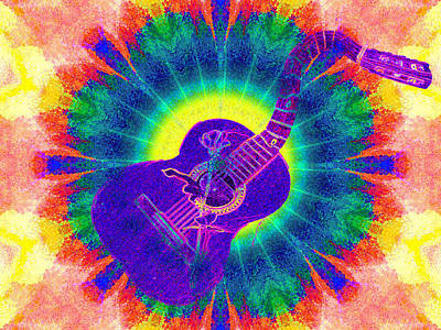 Hippie Guitar Poster by Bill Cannon