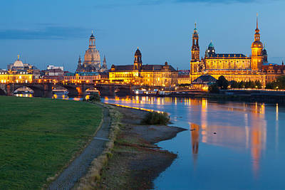 Historic Center Of Dresden At Dusk Poster by Panoramic Images