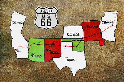Historic Route 66 - The Mother Road Poster by Christine Till