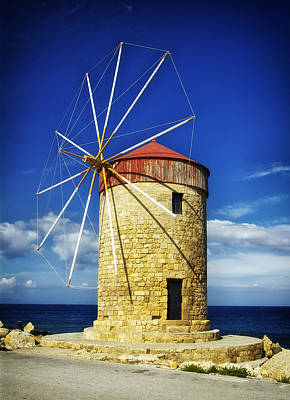 Historic Windmill - Rhodes Greece Poster by Mountain Dreams