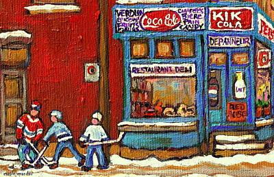 Hockey Game At The Corner Kik Cola Depanneur  Resto Deli  - Verdun Winter Montreal Street Scene  Poster by Carole Spandau