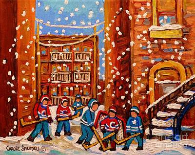 Hockey In The Laneway On Snowy Day Paintings Of Montreal Streets In Winter Carole Spandau Poster by Carole Spandau