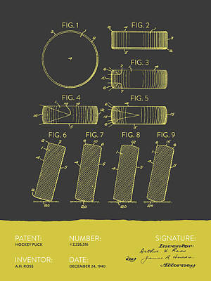 Hockey Puck Patent From 1940 - Gray Yellow Poster by Aged Pixel