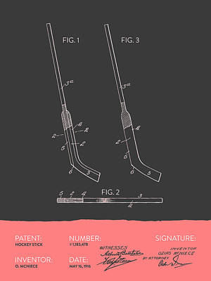 Hockey Stick Patent From 1916 - Gray Salmon Poster by Aged Pixel