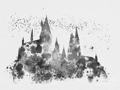 Hogwarts Black And White Poster by Rebecca Jenkins