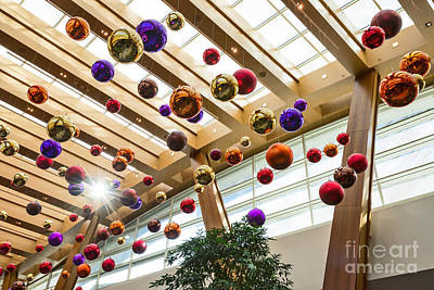 Holiday Glass Ornament Decorations At The Aria Resort And Casino Poster by Jamie Pham
