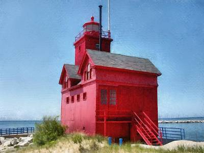 Holland Harbor And Big Red Poster by Michelle Calkins