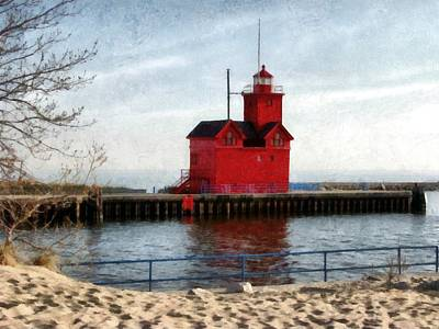 Holland Michigan Channel And Lighthouse Poster by Michelle Calkins