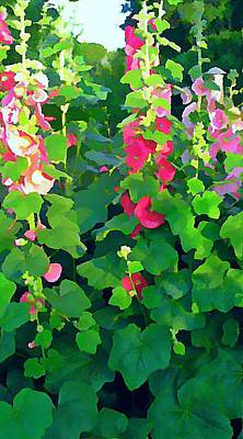 Hollyhocks By The Sea Poster by Anne Sterling