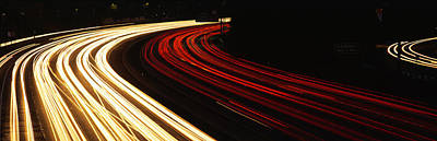 Hollywood Freeway At Night Ca Poster by Panoramic Images