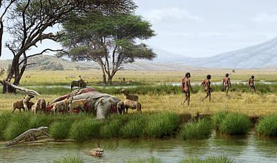 Homo Ergaster Hunters Poster by Mauricio Anton