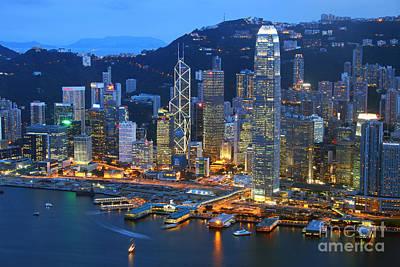 Hong Kong Skyline At Night Poster by Lars Ruecker