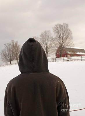 Hooded Boy At Farm In Winter Poster by Edward Fielding
