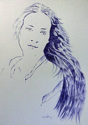 Hope In Blue Biro Poster by Callan Percy
