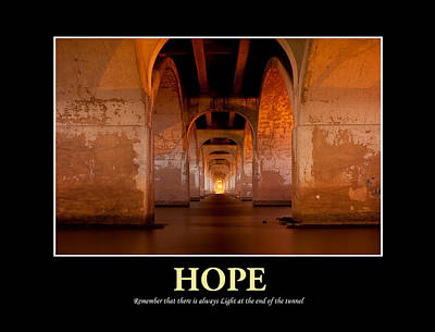 Hope - Light At The End Of The Tunnel Poster by Gregory Ballos