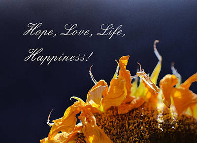 Hope Love Life Happiness Poster by Xueling Zou