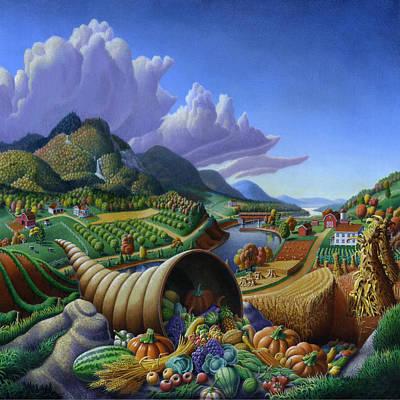 Horn Of Plenty Farm Landscape - Bountiful Harvest - Square Format Poster by Walt Curlee