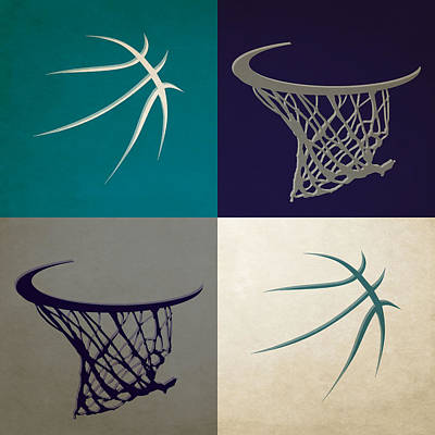 Hornets Ball And Hoop Poster by Joe Hamilton