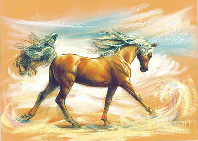 Horse Akalteke Poster by Zorina Baldescu
