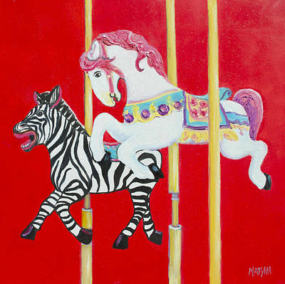Horse And Zebra Carousel Poster by Jan Matson