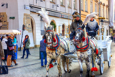 Horse Carriage In Krakow Poster by Pati Photography
