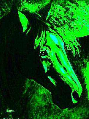 Horse Portrait Circe Green And Black Poster by Bets Klieger