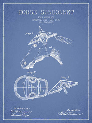 Horse Sunbonnet Patent From 1870 - Light Blue Poster by Aged Pixel