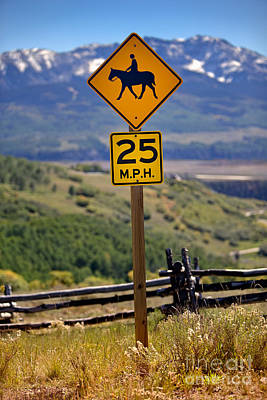 Horseback Riding Sign Poster by Jerry Fornarotto